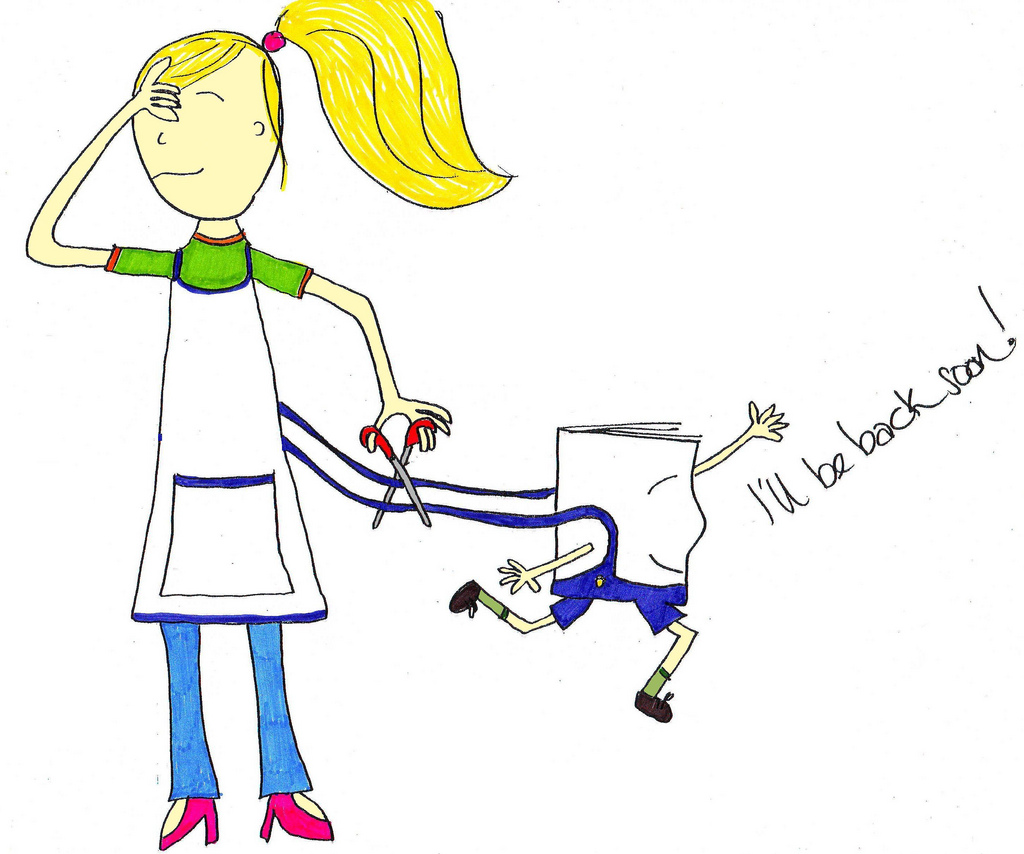 Girl cutting apron strings